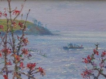Ted Dyer Original Oil Painting Springtime Ferry To St Mawes Cornwall